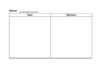 Fact and Opinion T Chart