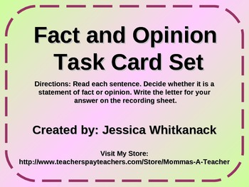 Fact and Opinion Task Card Set