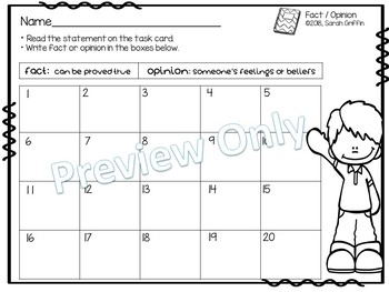 Fact and Opinion Task Card - Superhero