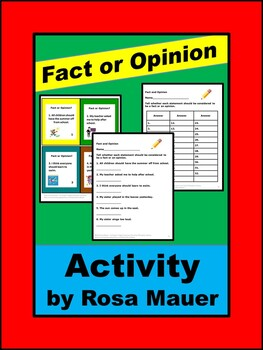 Fact and Opinion Task Cards and Worksheets Activities