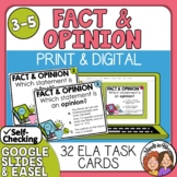 Fact or Opinion Task Cards: 32 cards for practicing fact and opinion