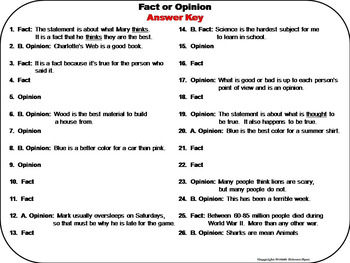 Fact and Opinion Task Cards 5th 4th 3rd Grade Reading Comprehension