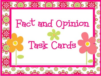 Fact and Opinion Task Cards PRINTABLES