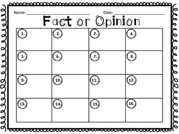 Fact and Opinion Task Cards: School Themed