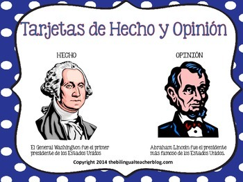 Fact and Opinion Task Cards in Spanish