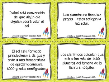 Fact and Opinion Task Cards in Spanish ( Sun, Moon and Planets )
