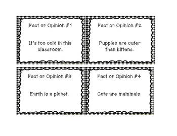 Fact and Opinion Task Cards with Answer Key