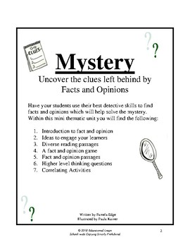Fact and Opinion Detective Themed Unit