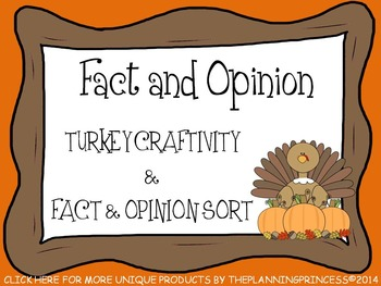 Fact and Opinion Thanksgiving Turkey Craftivity & Fact and Opinion Sort