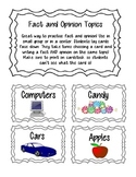 Fact and Opinion Topic cards