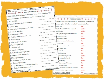 Fact and Opinion Worksheet Activity Page