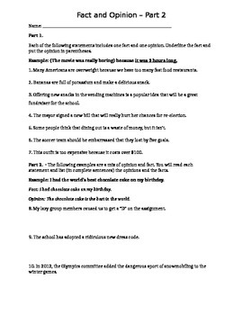Fact and Opinion Worksheet, Part 2