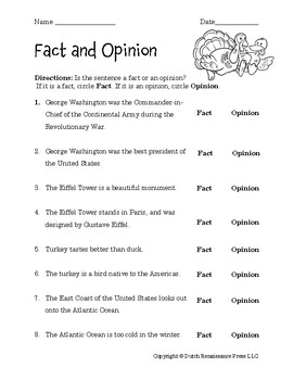 Fact Opinion Worksheets | Teachers Pay Teachers