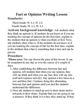 Fact and Opinion Writing Lesson
