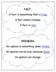 Fact and Opinion Writing Template and Anchor Chart ENL/ESL/ELL/SWD