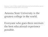 Fact and Opinion on ASU