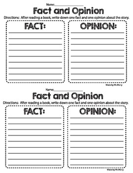 Fact and Opinion printable