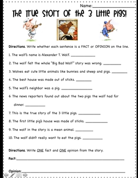 Fact and Opinion using The True Story of the Three Little Pigs by ...
