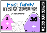 Fact family triangles and worksheets