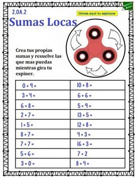 Fact fluency spinner Spanish
