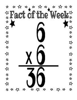 Fact of the Week Posters - Multiplication Posters for facts 6's - 9's