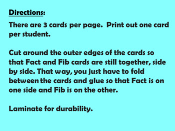 Fact or Fib Cards