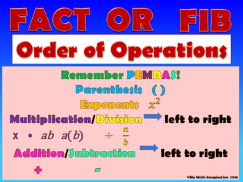 Fact or Fib - Order of Operations Includes Parenthesis & Exponents