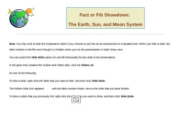 Fact or Fib Showdown: Earth, Sun, and Moon