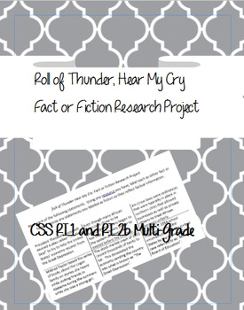 Roll of Thunder, Hear My Cry  Fact or Fiction Research Project