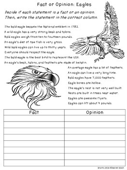 Fact or Opinion ~ 10 Worksheets ~ No Prep