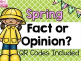 Spring Fact and Opinion Task Cards with QR Codes