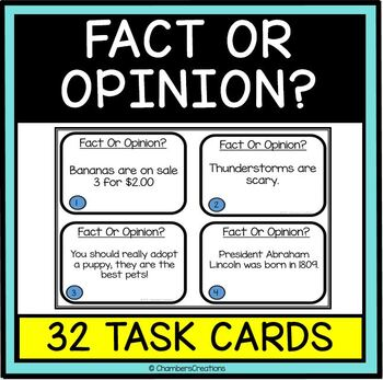 Fact and Opinion - 32 Task Cards, ELA center, writing