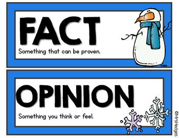 Winter Fact or Opinion Sorting Game