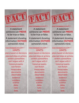 Fact or Opinion Bookmark