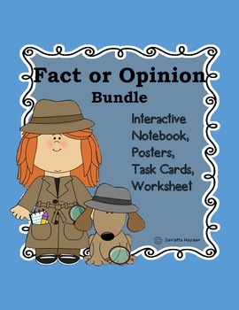 Fact or Opinion Bundle Literacy Center Detective-Notebook, Task Cards