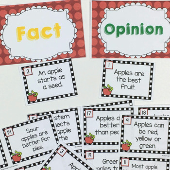 Fact or Opinion Cards Apple Theme