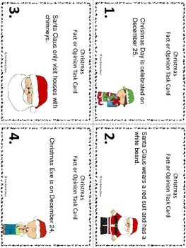 Fact or Opinion : Christmas Theme Task Cards