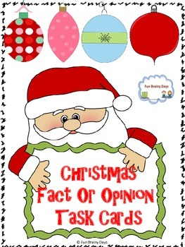 Fact or Opinion : Christmas Theme Task Cards