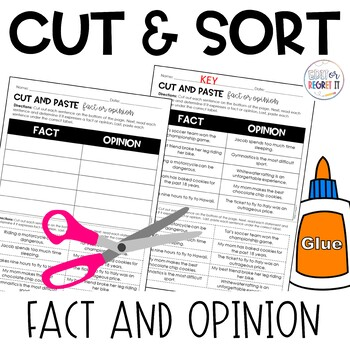 Fact or Opinion Cut and Paste Sorting Activity
