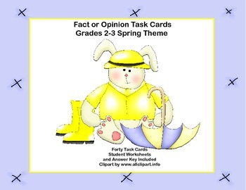 Fact or Opinion? Forty Task  Cards for Grades 2-3 Spring Theme