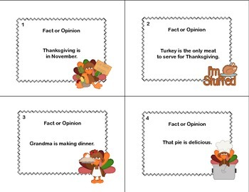 Fact or Opinion? Forty Task  Cards for Grades 2-3 Thanksgiving Theme