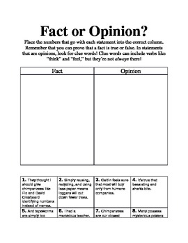 Fact or Opinion Graphic Organizer adapted from Jane Goodall's 10 Ways to...
