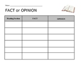 Fact or Opinion Graphic Organizer