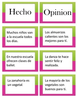 Fact or Opinion - Hecho y opinion spanish