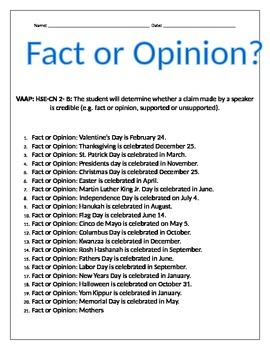 Fact or Opinion- Holidays