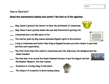 Fact or Opinion Jamestown