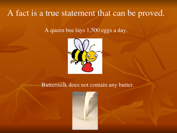 Fact or Opinion PowerPoint with examples and practice.