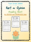 Fact or Opinion Reading Sheets for Daily 5 and Raz Kids