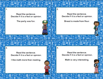 Fact or Opinion?  Scoot and Task Cards Grades 2-3 Tween Theme