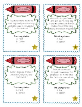 """""""Fact or Opinion"""" Self Checking Task Cards for Independent Centers"""